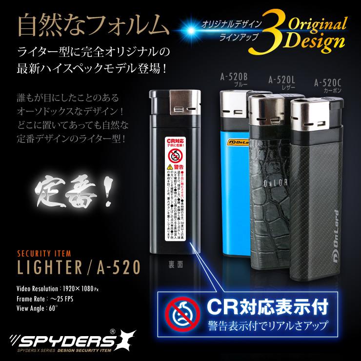 見た目はどこにでもあるライター。自然に持ち運びができるスパイカメラです。